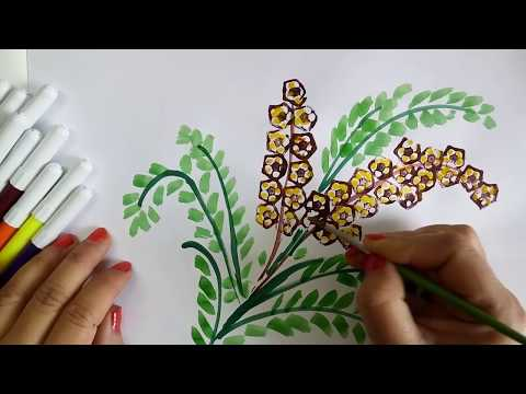 Vegetable Craft Ideas For Kids: Flower Drawing With Ladies Finger Prints, Learning Video For Kids