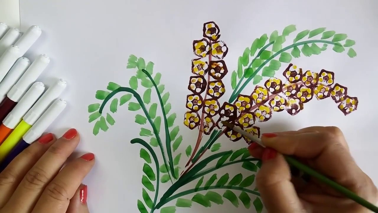 Vegetable Craft Ideas For Kids Flower Drawing With Ladies Finger Prints Learning Video For Kids Youtube Vegetable Crafts Flower Drawing Vegetable Painting