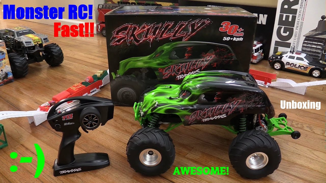 RC Toys Traxxas Skully Monster Truck Unboxing Walk Around and Test Drive