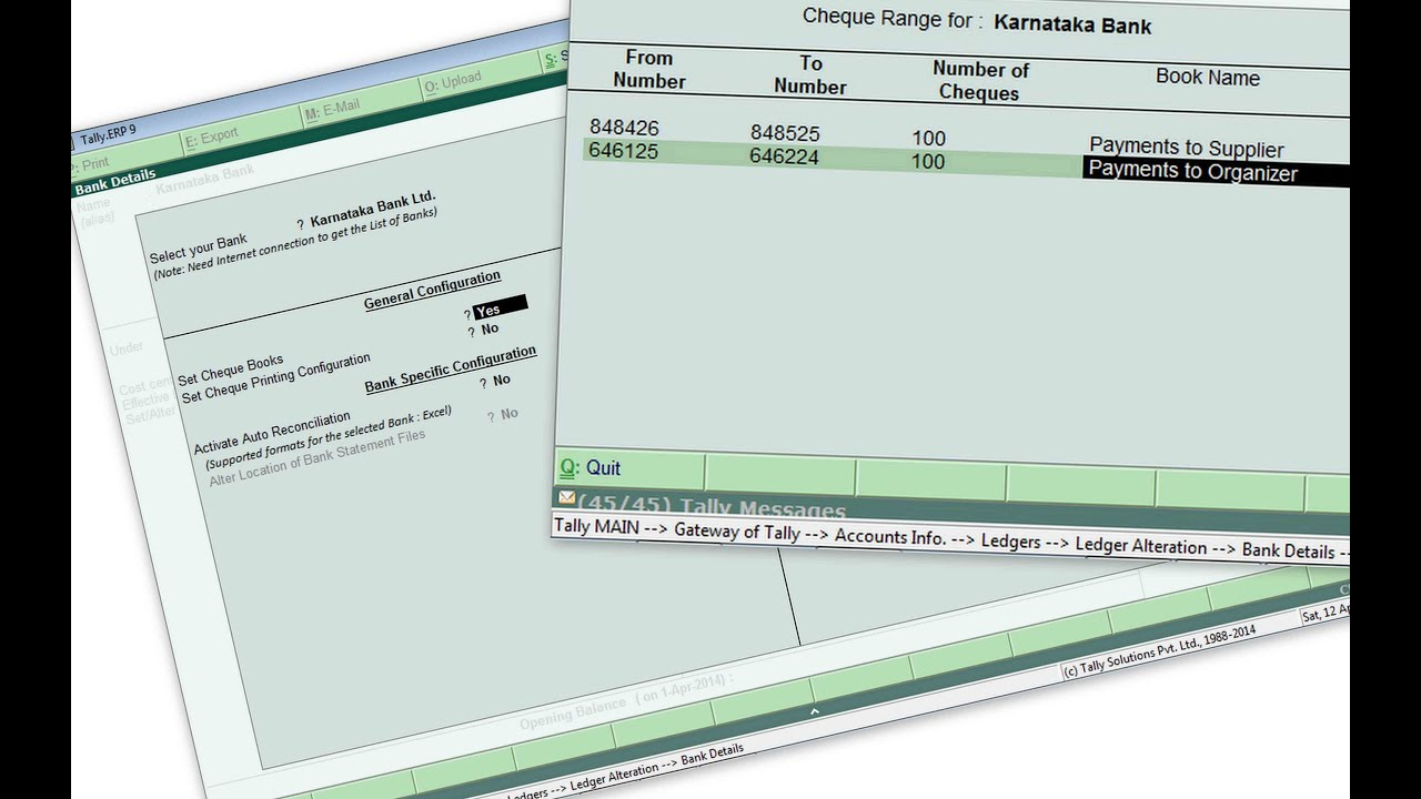 Set Cheque Books in Tally ERP 9   YouTube