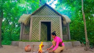 Girl Living Off the Grid, Build The Most Beautiful Bamboo House In Deep Jungle