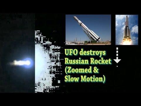 UFO destroys Russian Proton Rocket & Satellite ZOOMED & Slo Mo