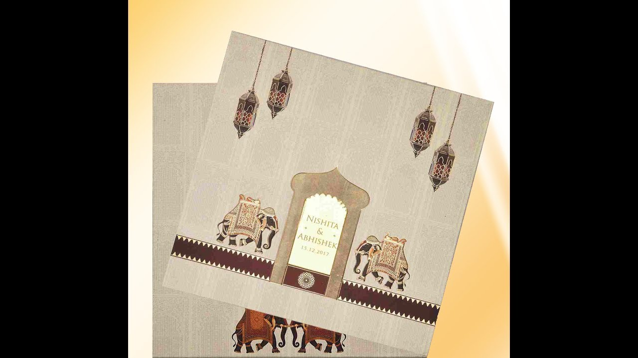 Enchanting Pale Yellow Color With Elephant Theme Padded Wedding Card ...