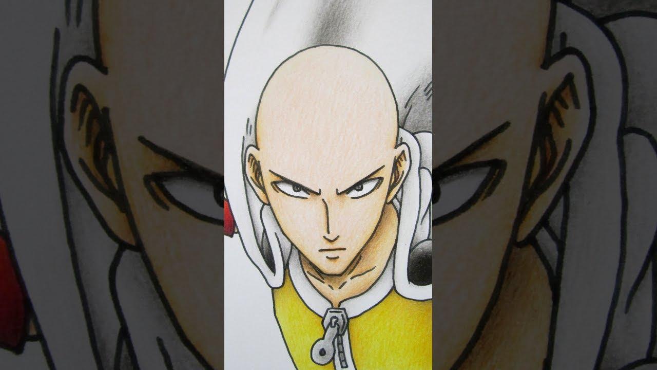 วาดรูปไซตามะ จากอนิเมะ วันพันช์แมน One Punch Man
