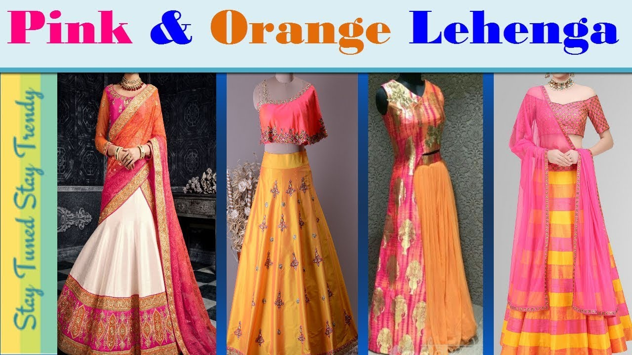 Orange Pink Green Colour Combination Indo Western Lehenga Designs 2018 ल ह ग च