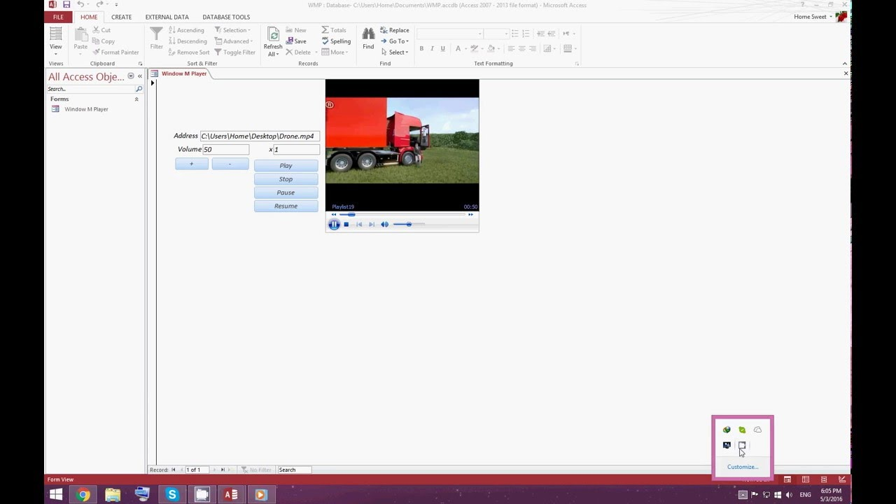 How To Use Window Media Player Active x Ms Access Vba Forms