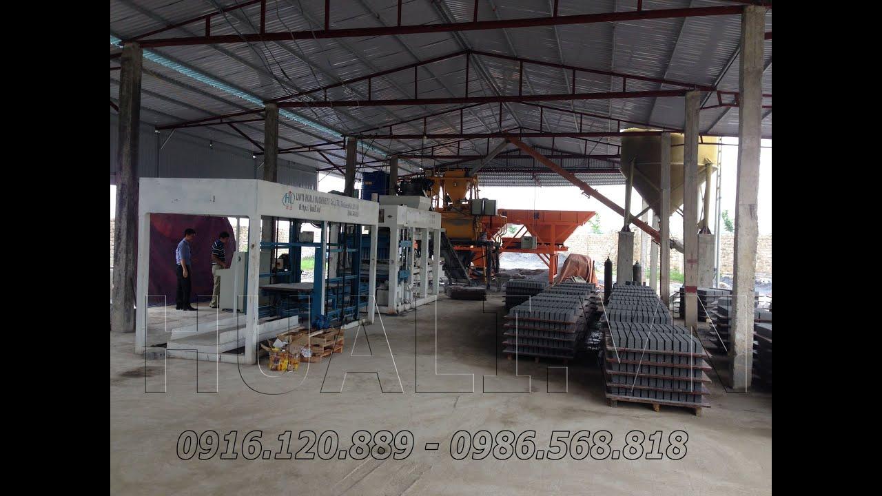 Dây chuyền gạch block Thanh Hóa sản xuất gạch ống không nung 2 lỗ cao 250mm