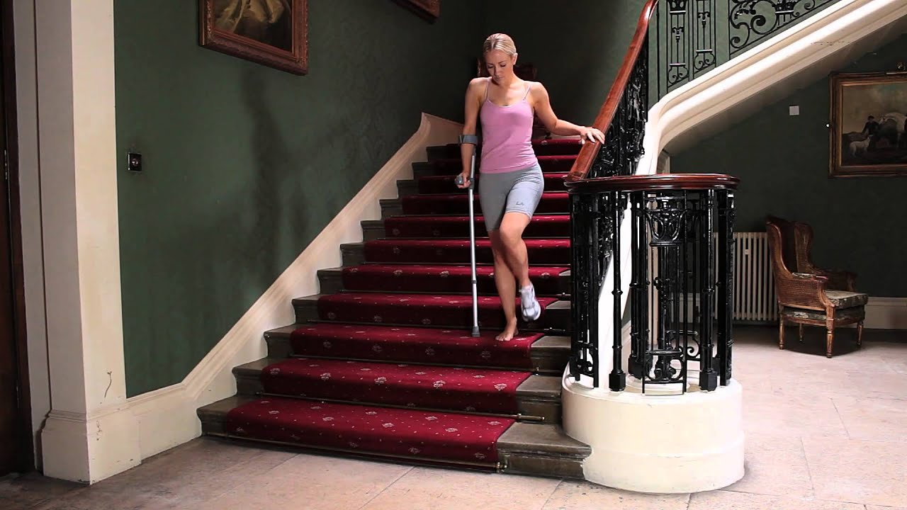 How To Walk Up And Down Stairs With One Crutch Youtube