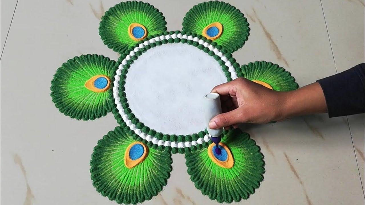 Unique rangoli design for festivals | Peacock feather rangoli ...