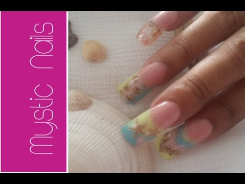 DIY Acrylic Nail Design Tropical Beach Style :::... Jennifer Perez of Mystic Nails ☆