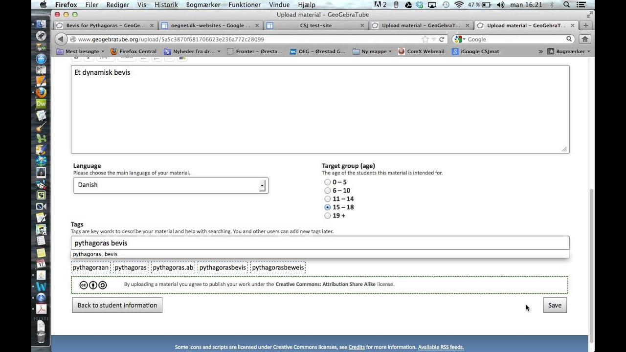 Instruktion til geogebra i google sites