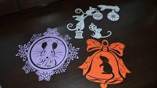 крысы вытынанки из бумаги для украшения окон / Paper rat DIY