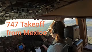 Female 747 Pilot TAKEOFF  FROM MEXICO CITY