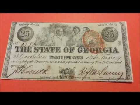25c 1863 Fractional Currency - State of Georgia - Red Stamp - US CURRENCY COLLECTION