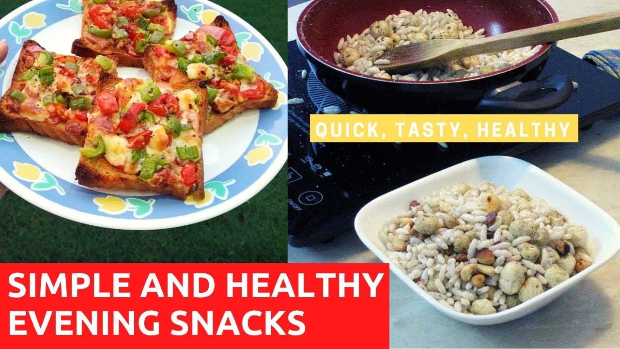 SIMPLE AND HEALTHY EVENING SNACKS | 5 Min. Recipes | Bread Pizza | Makhana Murmura Crunch