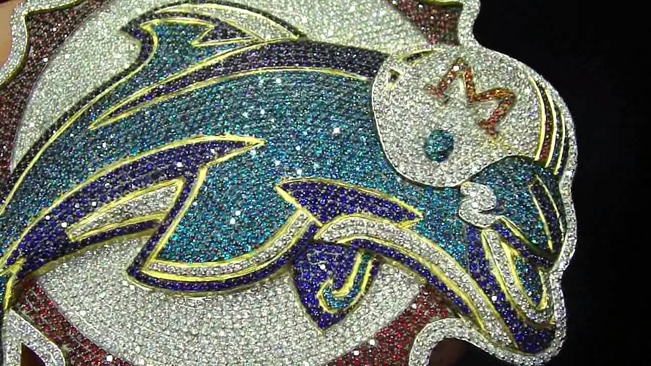 Designer Miami Custom Dolphin Fully Iced Out Blue Red