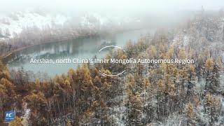 Amazing unfrozen river in north China