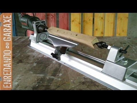 Torno para taladro drill lathe kit youtube for Bar casero de madera