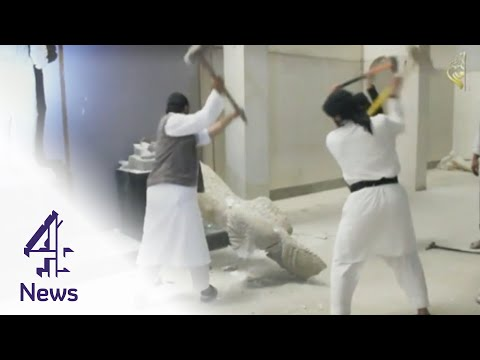 Islamic State Fighters Smash Historic Statues In Mosul | Channel 4 News