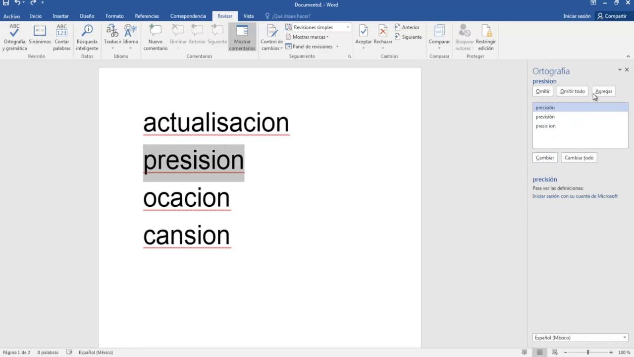Como Acomodar Los Errores De Ortografía En Hojas En Word 2016 - YouTube