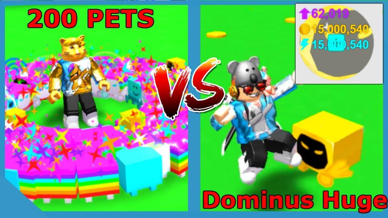 GOLD DOMINUS HUGE VS 200 DOMINUS PETS! - ROBLOX PET SIMULATOR *Broke The Game*