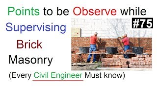 Point to be Observe while Supervising Brick Masonry construction in Urdu/Hindi