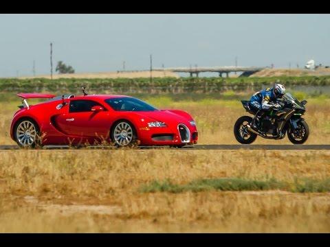 Kawasaki H2R vs Bugatti Veyron Supercar – 1/2 Mile Airstrip Race 2