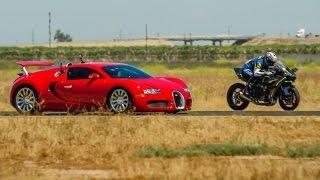 Kawasaki H2R vs Bugatti Veyron Supercar - 1/2 Mile Airstrip Race 2