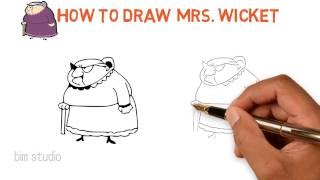 how to draw mr bean cartoon character MRS JULIUA WICKET