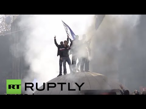 Albania: Protesters smash and torch a bunker during anti-govt demo