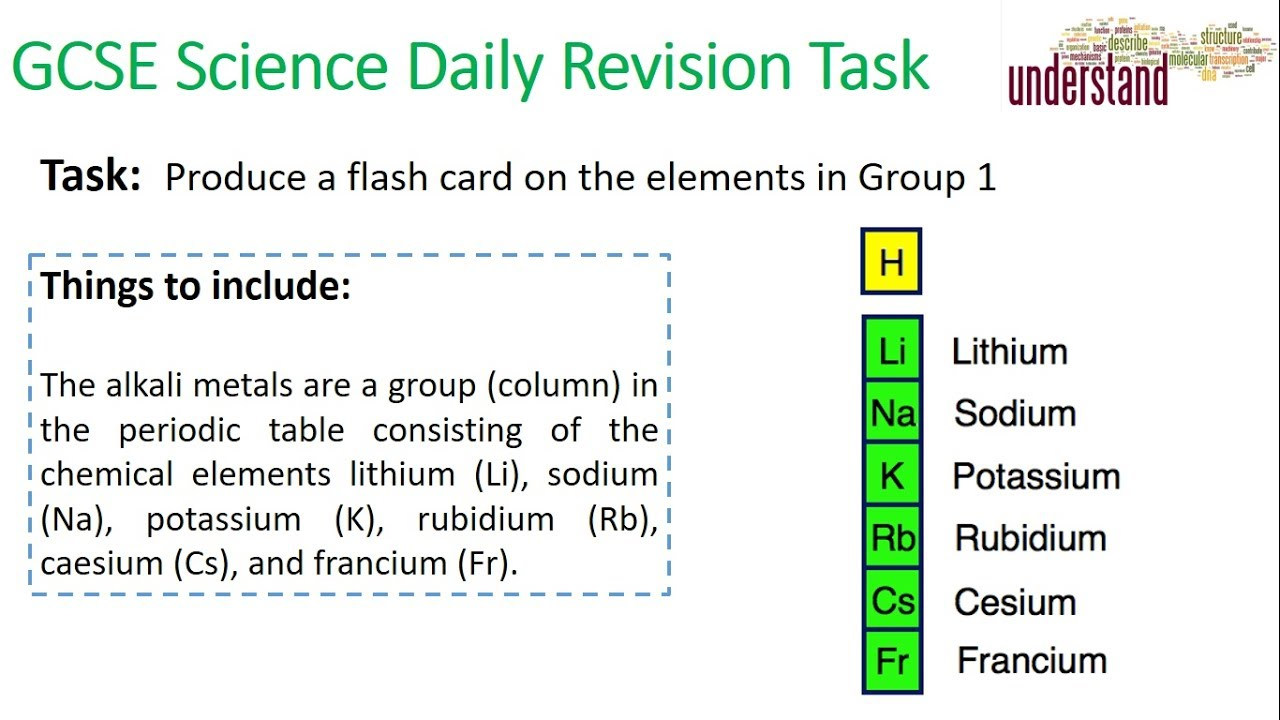 Gcse science daily revision task 30 group 1 elements youtube gcse science daily revision task 30 group 1 elements urtaz Gallery