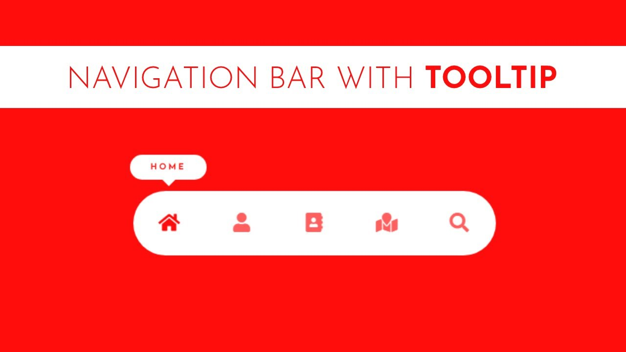 Simple Navigation Bar with Tooltip Using HTML and CSS