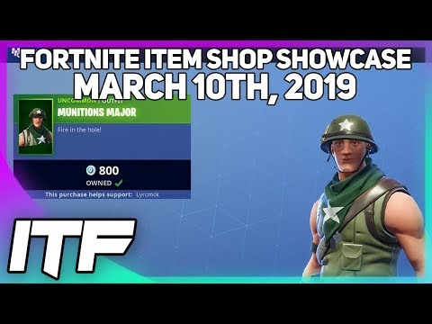 Fortnite Item Shop *NEW* MUNITIONS MAJOR SKIN! [March 10th, 2019] (Fortnite Battle Royale) thumbnail