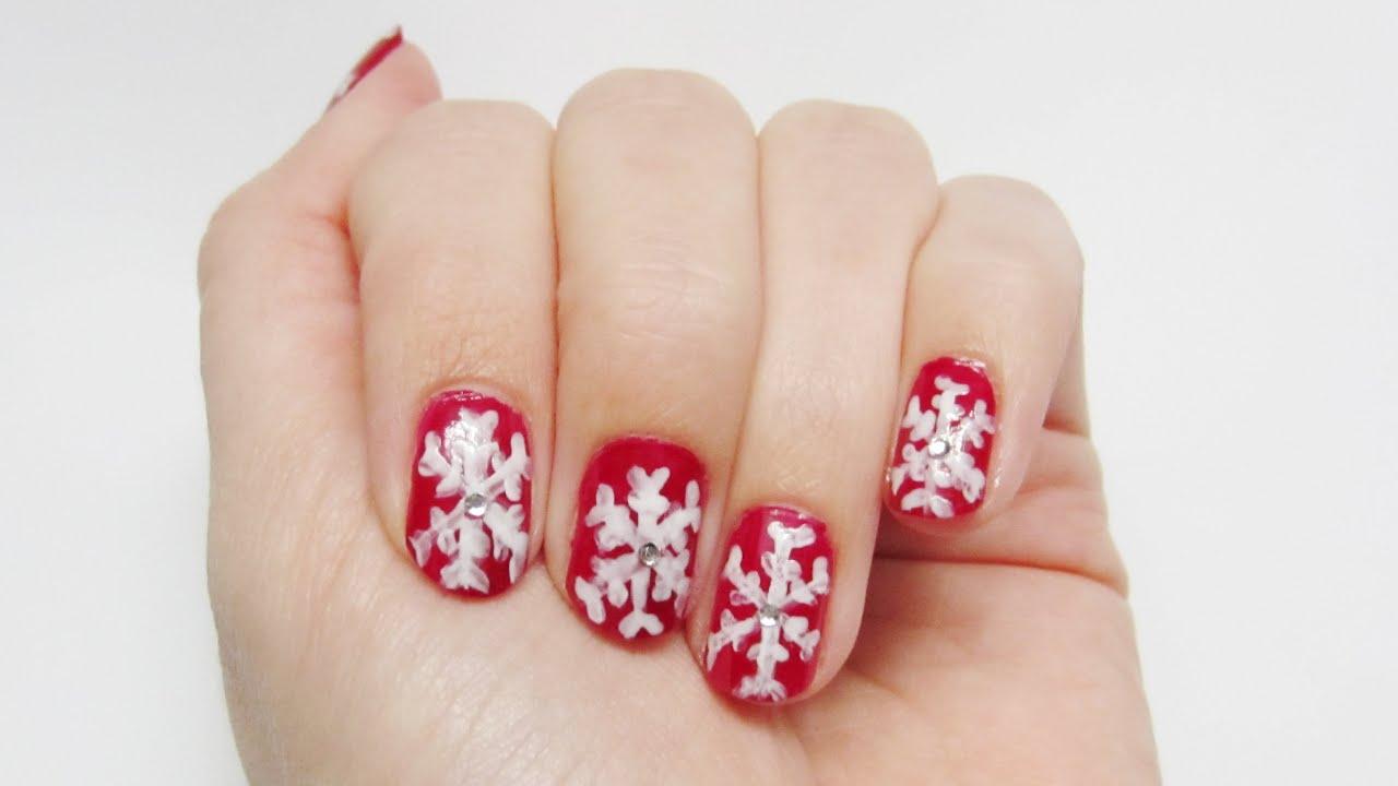 Winter-Nageldesign Schneeflocken mit Glitzer-Steinchen   rot-weiß ...