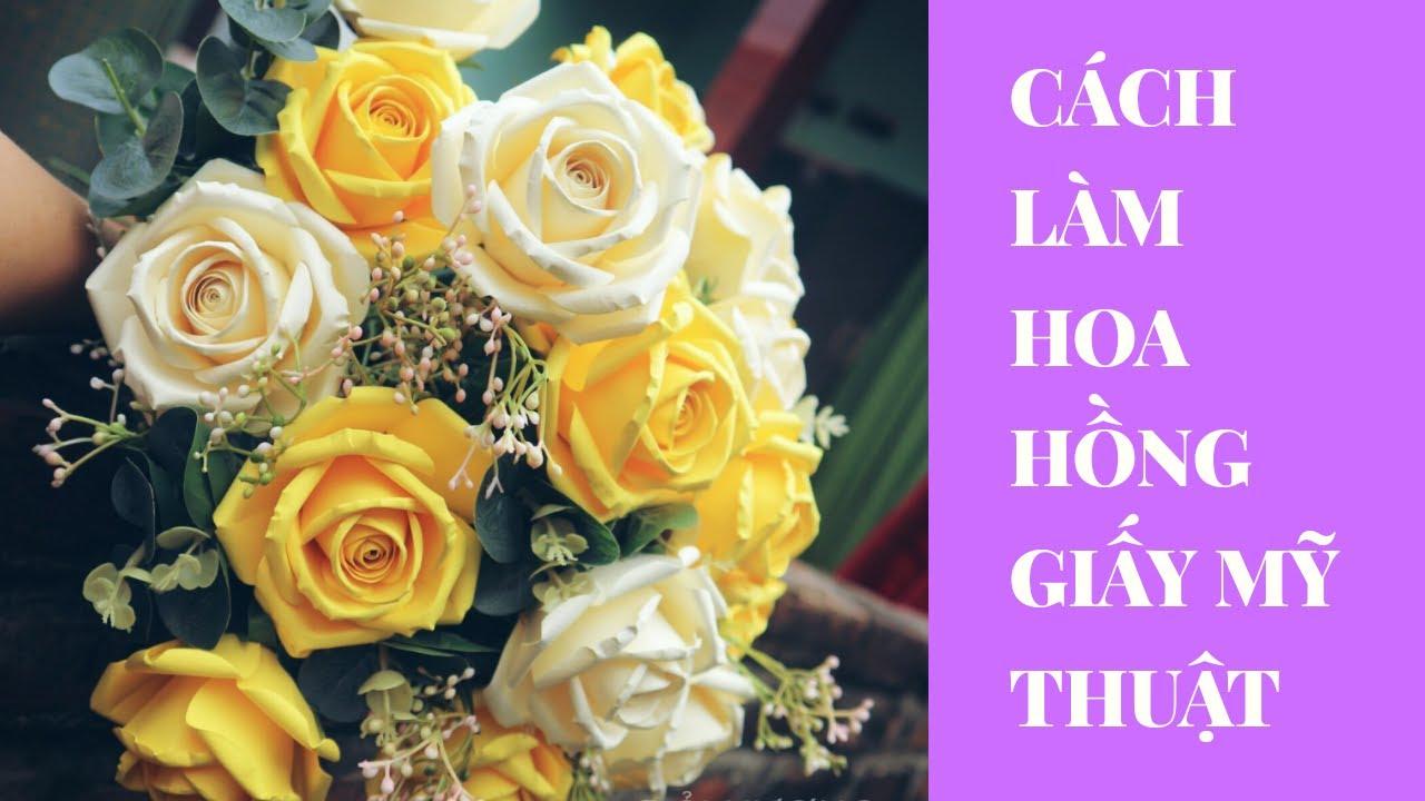 How to make Rose paper |Cách làm hoa hồng giấy mỹ thuật| Oải Hương handmade