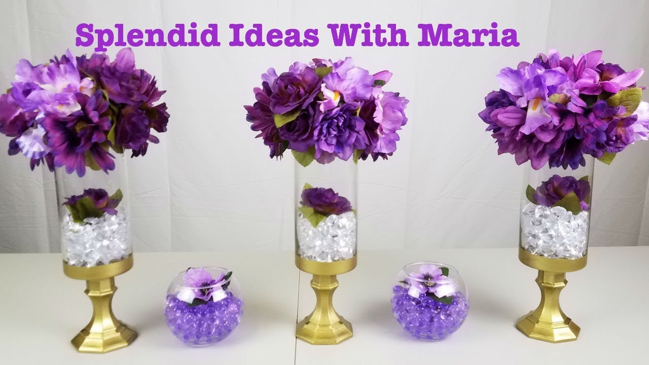Centerpiece Ideas Diy Purple Gold Centerpiece Youtube
