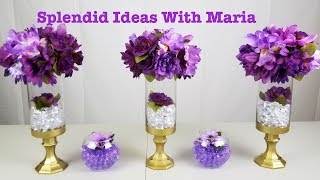 Centerpiece ideas: DIY Purple & Gold centerpiece