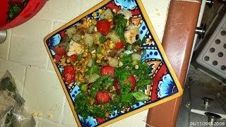 Peachdish Easy  Strawberry And Spinach Salad With Chicken, Corn, Potato & Pea Ha