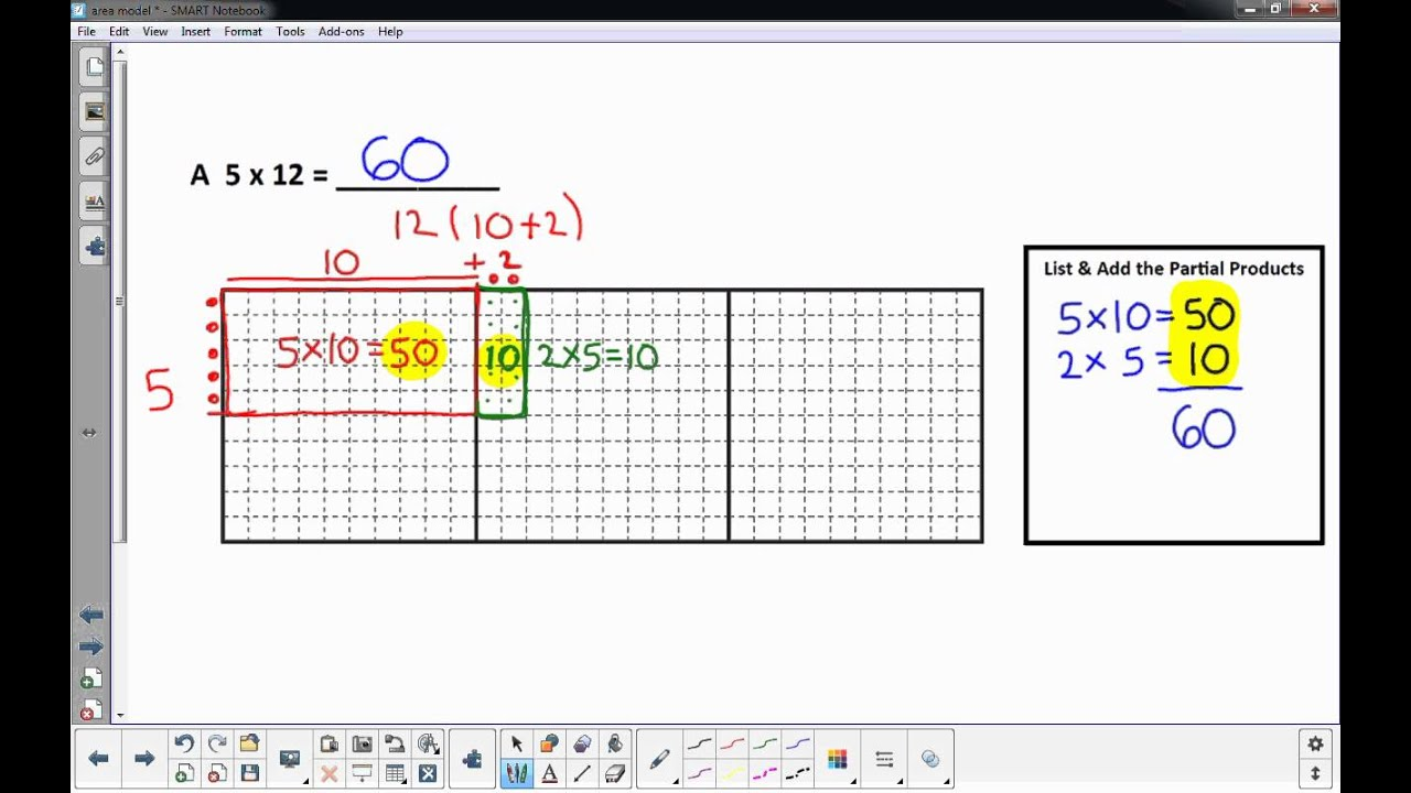 2 Digits X 1 Digit Multiplication With The Area Model