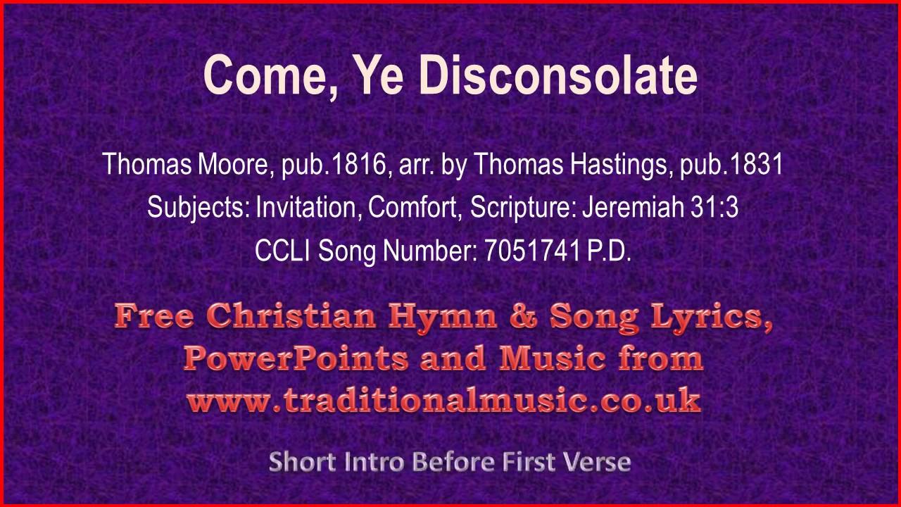 Come ye disconsolatebh067 hymn lyrics music youtube come ye disconsolatebh067 hymn lyrics music stopboris Choice Image