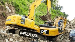 Large Excavator Working On Road Construction