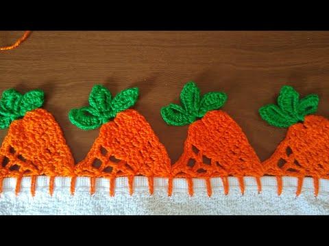 Barrado de cenoura em crochê fácil para pano de prato 🥕🥕