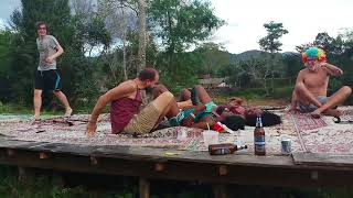 Vang Vieng wrestling - Black girl vs Austin powers. Austin taps out twice