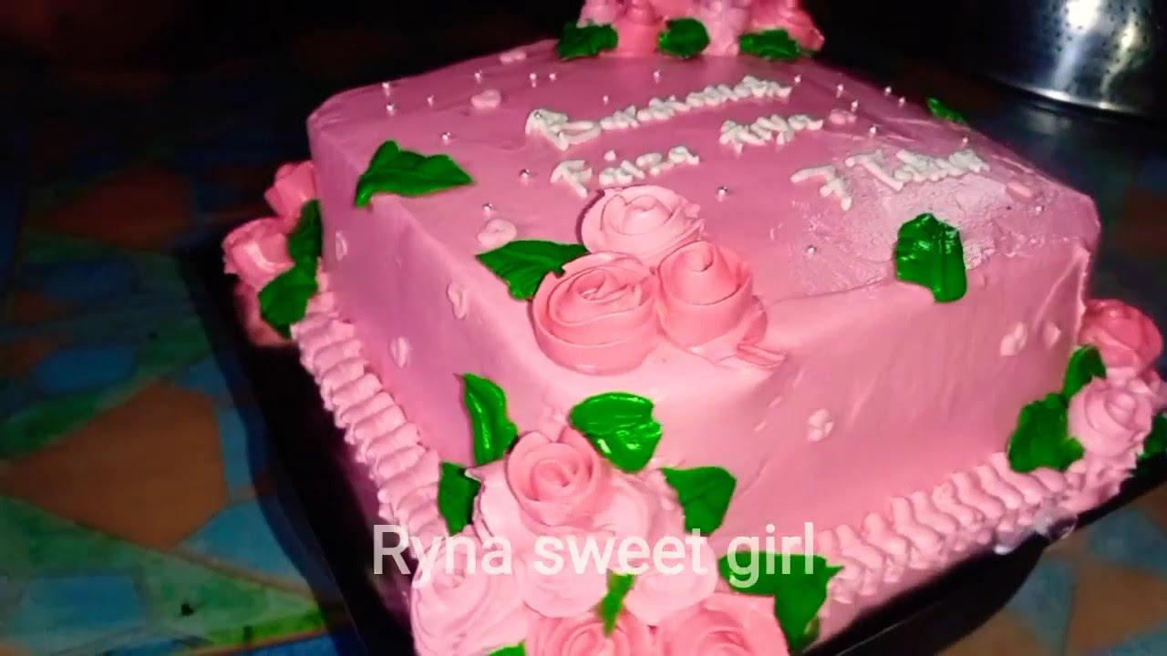 Kue Ulang Tahun Model Bunga Warna Pink Bentuk Kotak Youtube