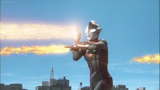 Ultraman Mebius used his Lightning Thrasher attack and sliced King ...