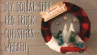 DIY Dollar Tree Red Truck Wreath