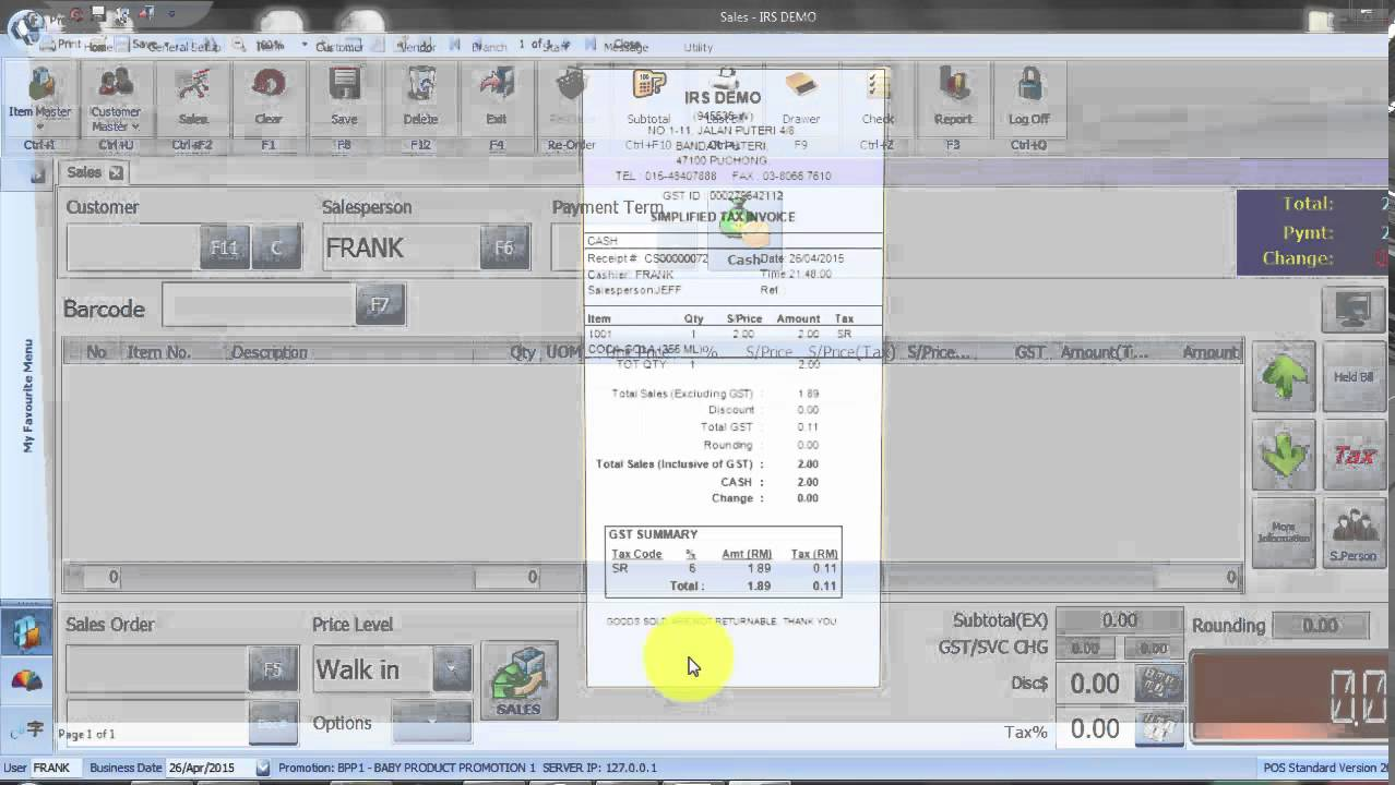 3.0.3 IRS Software online training- How to set fix rate commission for staff (by items) - YouTube