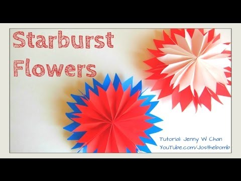 Paper Craft - How To Starburst Paper Flowers - Paper Fan Flowers Using Tissue (Summer/July 4th Idea)