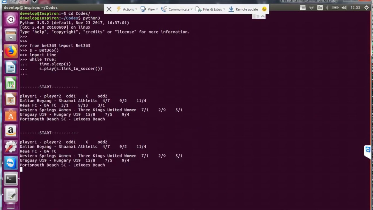 Scraping Soccer InPlay odds from Bet365 using Python