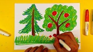 Как нарисовать ДЕРЕВО мелками / Урок рисования для детей от 3 лет